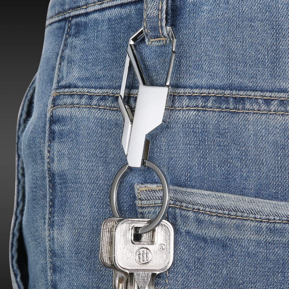 Black and silver ILANKTOZI 2 PCS Zinc Alloy Key chains Creative metal keychain Heavy Duty Car Keychain for Men and Women