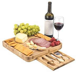 Bamboo Cheese Board with Cutlery Set I WATERPROOF DESIGN I Housewarming Gift I Cheese Platter | Cheese Plate | Cheese Tray | Wooden Charcuterie Board | 4 Stainless Steel Knives and Serving Sets