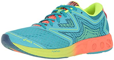 ASICS Women's Noosa FF Running Shoe, Aquarium/Flash Coral/Safety Yellow, 5