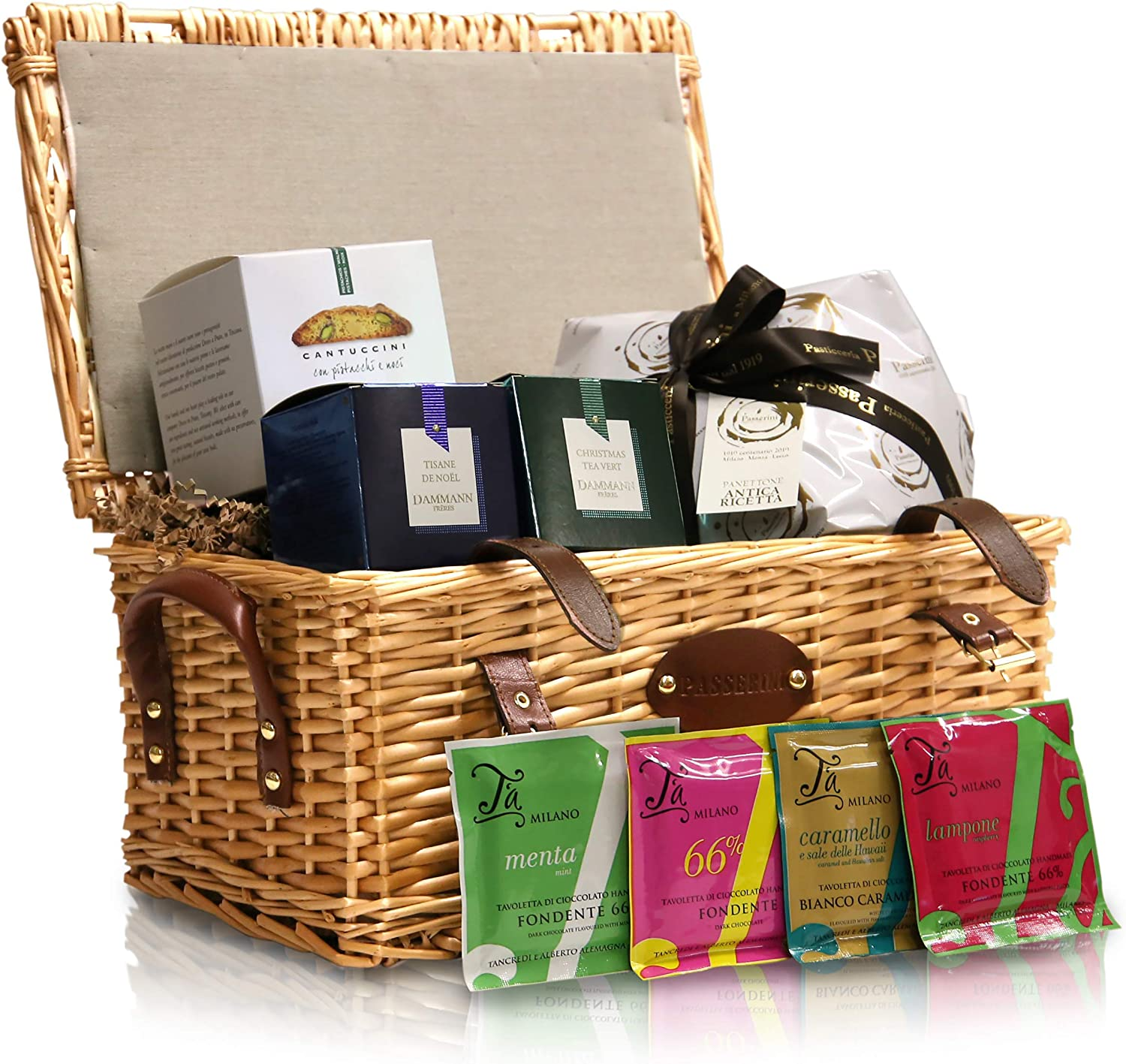 Pasticceria Passerini dal 1919 Christmas Hamper, French & Italian Specialities in Vintage Wicker Basket: Panettone, Chocolate, Cantucci, and Dammann Tea