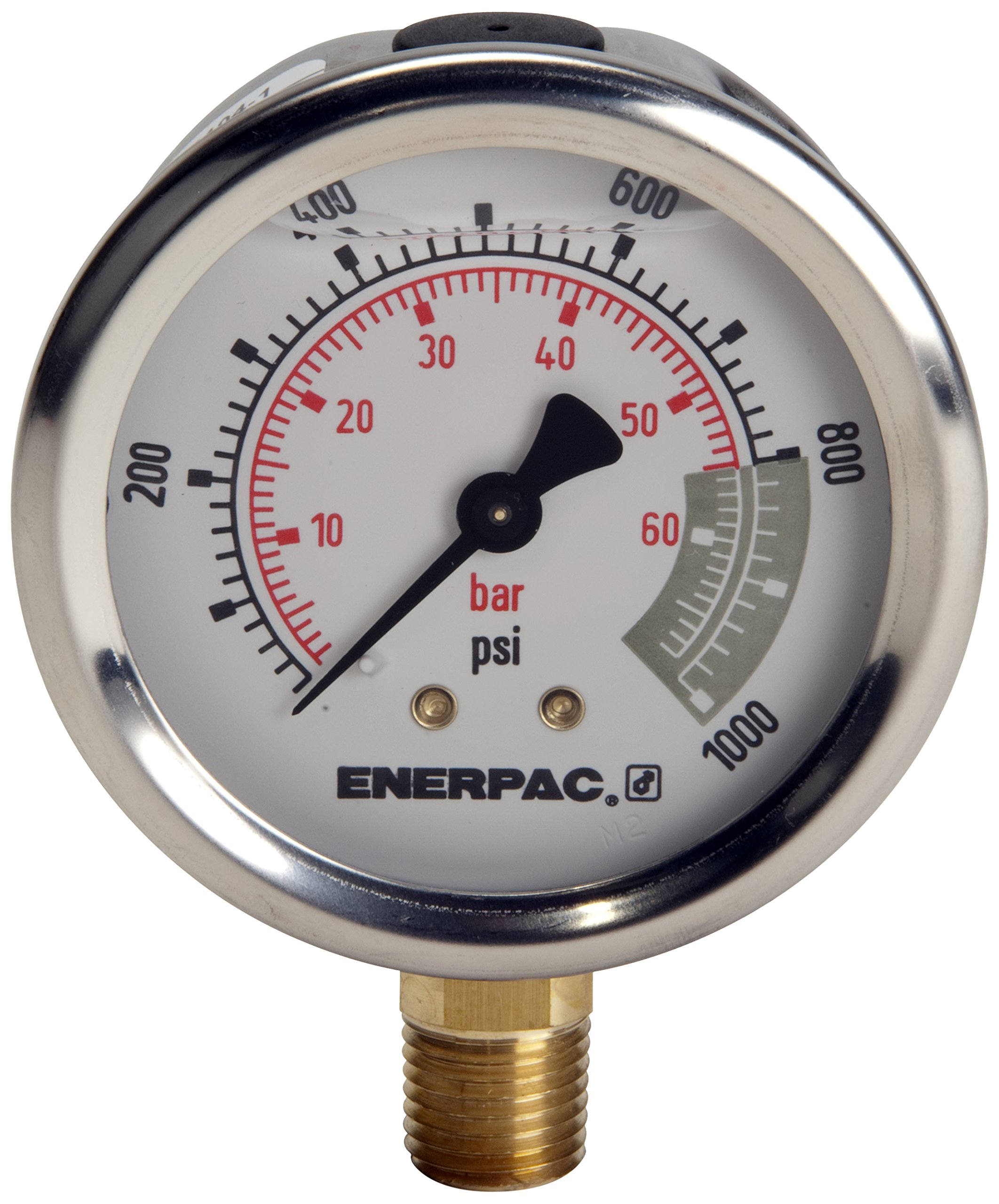 Enerpac G2536L Hydraulic Pressure Gauge, Lower Mount, 2.5'' Face, 1/4'' NPTF, 0 to 15,000 PSI, 0 to 1,000 bar, Silver
