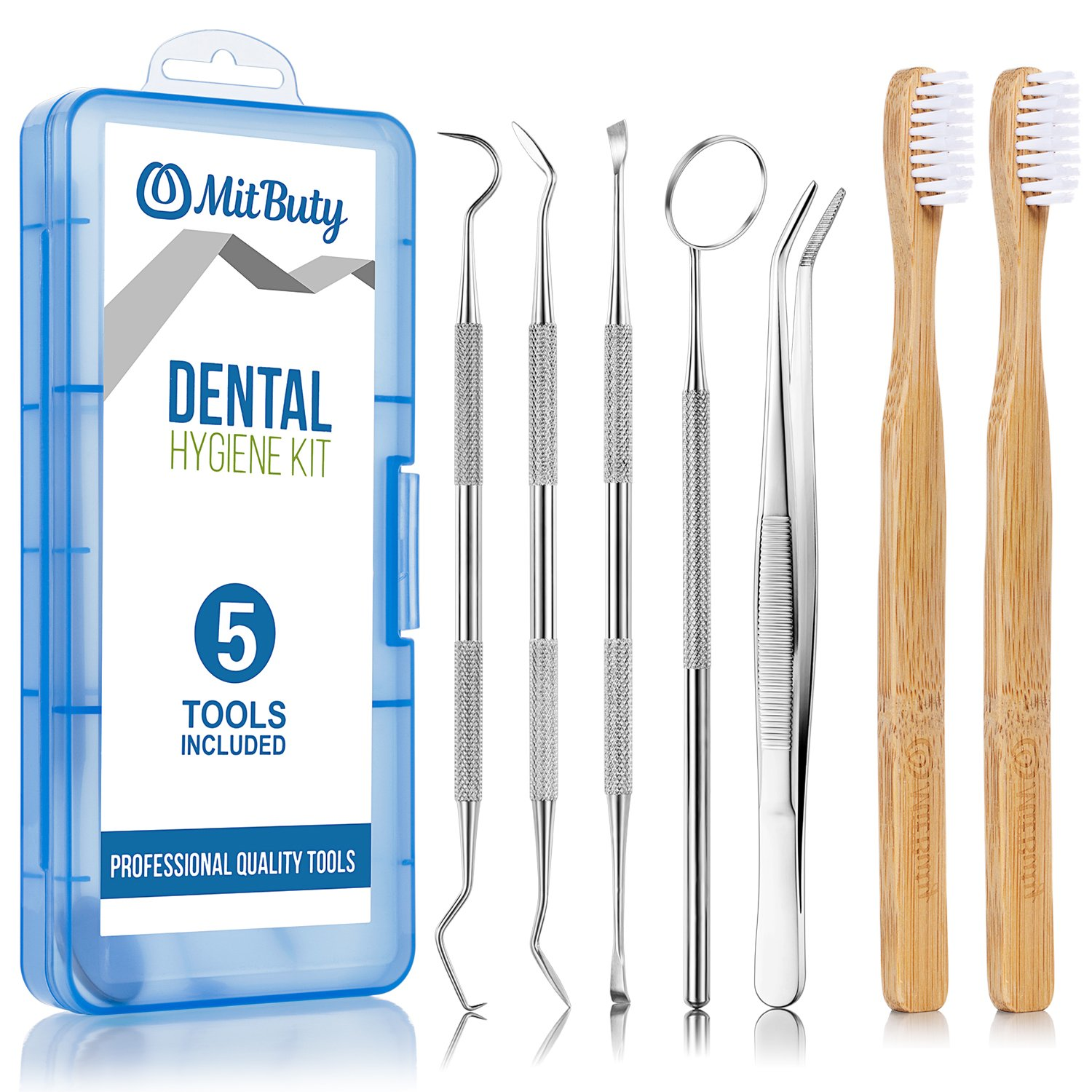 Dental Hygiene Tools Kit & 2pcs Bamboo Toothbrush – Professional Stainless Steel Dentist Instrument Set Includes Month Mirror|Dental Pick|Sickle Scaler|Tartar Remover|Tweezers – Pet-Friendly