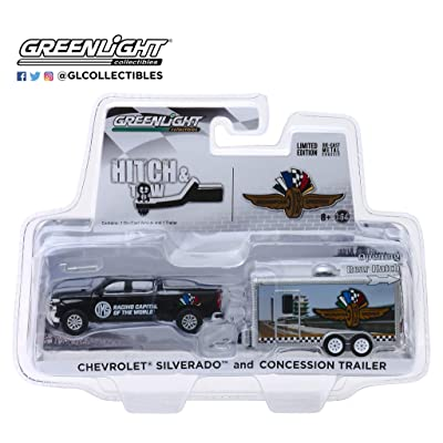 Chevrolet Silverado Pickup Truck & Concession Trailer Indianapolis Motor Speedway Hitch & Tow 1/64 Diecast Model Car by GreenLight 30034: Toys & Games