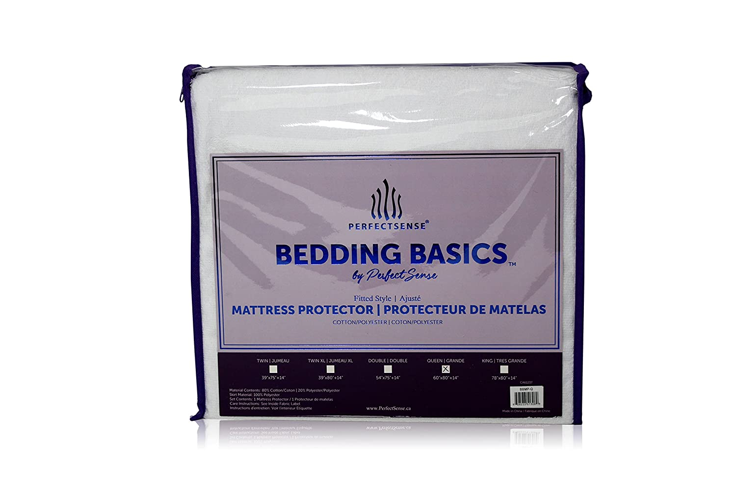 "Mattress Protector 1 Piece PerfectSense Basics Luxury Soft Breathable 100% Waterproof Mattress Cover Hypoallergenic Mattress Protector for Superior Comfort and Support with up to 18"" Deep Pocket Fitted Style Protector & Machine Washable, Vinyl PVC and"