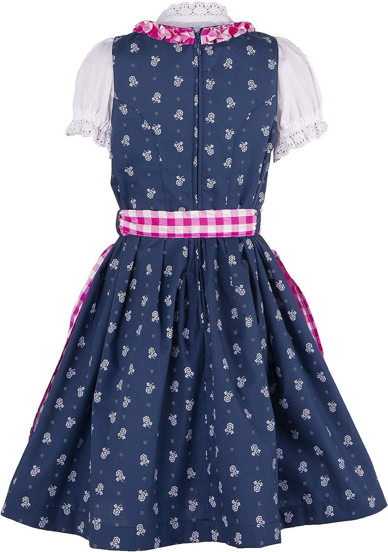3-teiliges Trachtenkleid Dirndl f/ür M/ädchen Ramona Lippert/® Kinderdirndl Florence blau pink