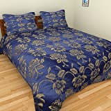 Bharti Home Fab Silk Floral Double Bed Bedsheet With 2 Pillow Covers- Dark Blue, 228.6 Cm X 228.6 Cm