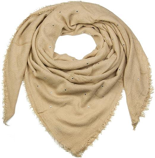 c2d18b3965ce5b styleBREAKER foulard XXL à mailles fines avec rivets et franges, châle pour  l'hiver