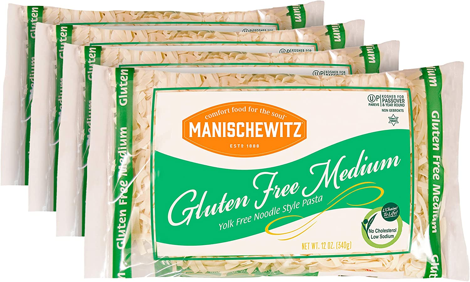 Manischewitz Noodle, Yolk Free, Medium, Passover, 12-Ounce (Pack of 4)