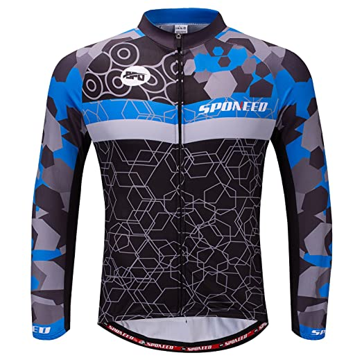 Amazon.com   sponeed Cycling Clothes for Men Long Sleeve Mountain Bike Road Bicycle  Shirt Jeresys Pants Padded Bike Jakcet Outfit   Sports   Outdoors 6af17a42f