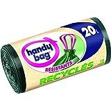 Handy Bag 2 Rouleaux de 15 Sacs Poubelle 20 L, Poignées Coulissantes, Recyclés, Résistant, Anti-Fuites, 45 x 50 cm, Vert Foncé, Opaque