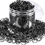 Hicarer 2000 Pack Mini Black Rubber Bands Elastic Hair Bands Soft Hair Ties with Box for Children Hair Braiding Hair Wedding Hairstyle