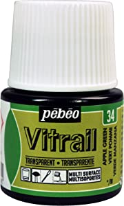 Pebeo Vitrail, Stained Glass Effect Paint, 45 ml Bottle - Apple Green