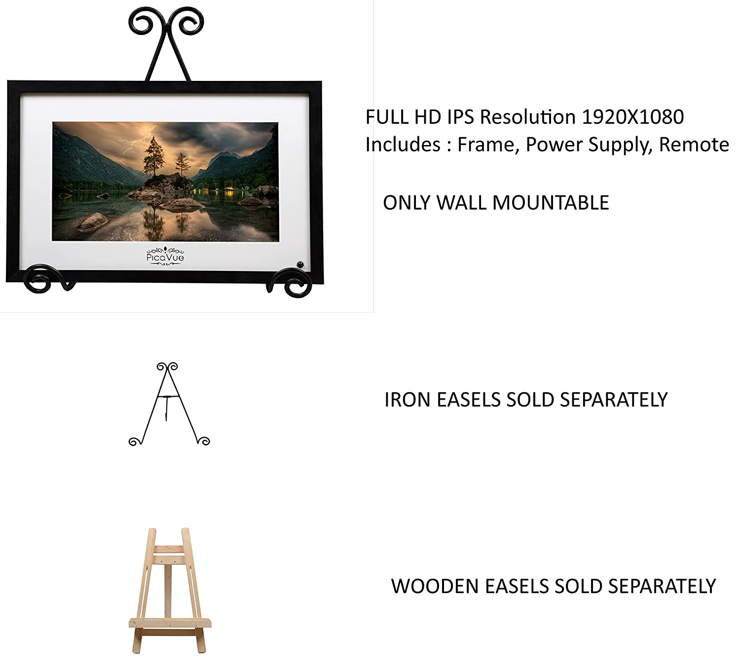 PicaVue IPS Full HD (Natural Look) 15 6 Inches Digital Photo Frame with  Motion Sensor, SD/USB, Plays Photo Slideshow, Video, Audio, Black