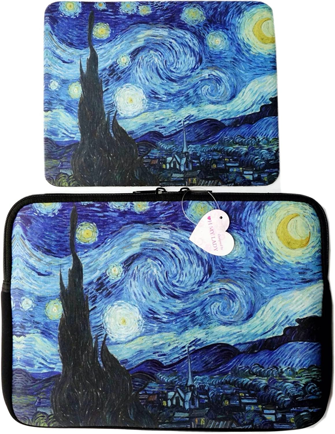 """Oh My Lady 11-11.6"""" inch Van Gogh's Masterpiece (Starry Night) Oil Painting Neoprene Laptop Case/Sleeve/Bag/Pouch/Cover – Available in 7 Patterns"""