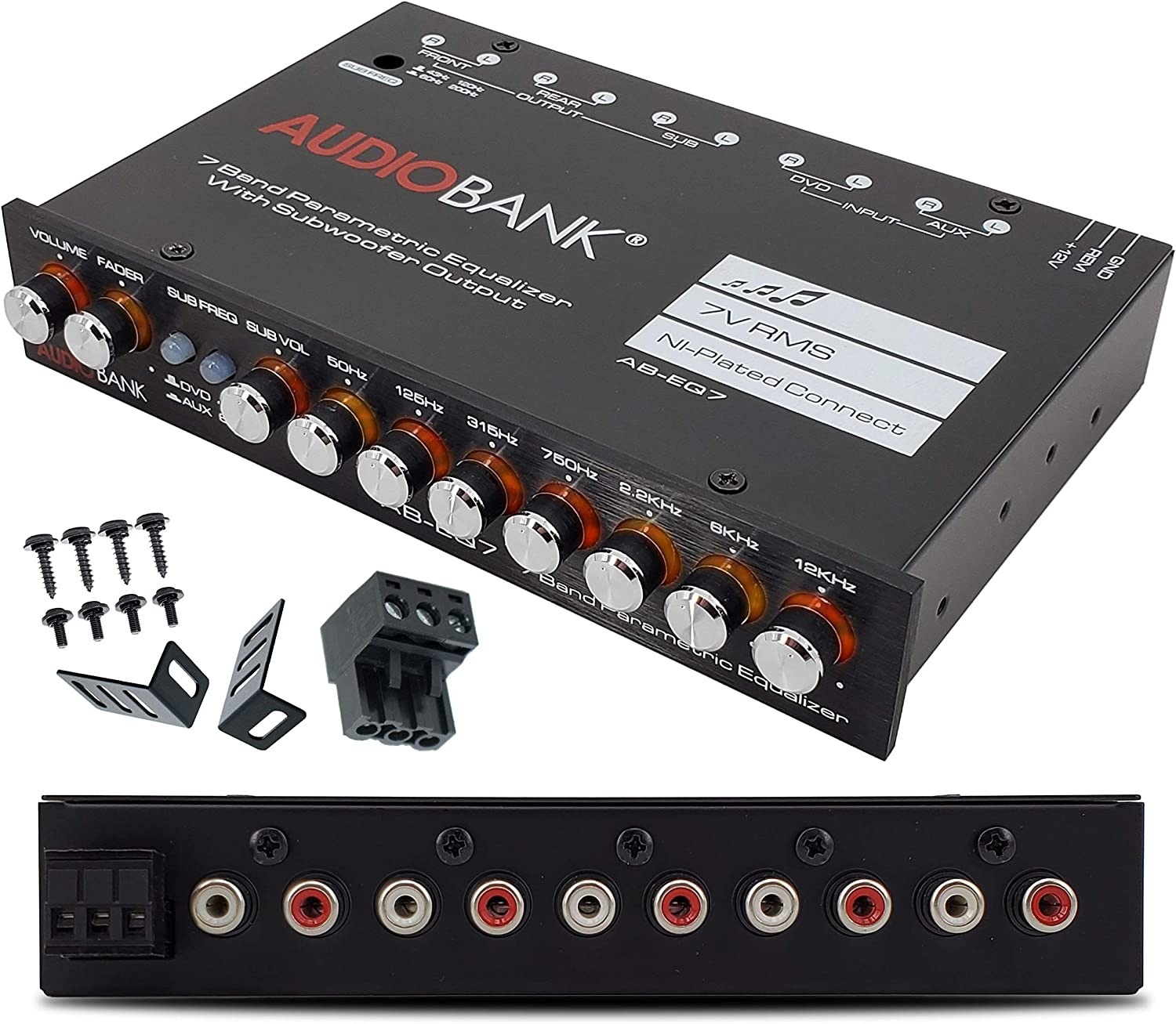 Audiobank EQ7 1/2 Din 7 Band Car Audio Equalizer EQ w/Front, Rear + Sub Output