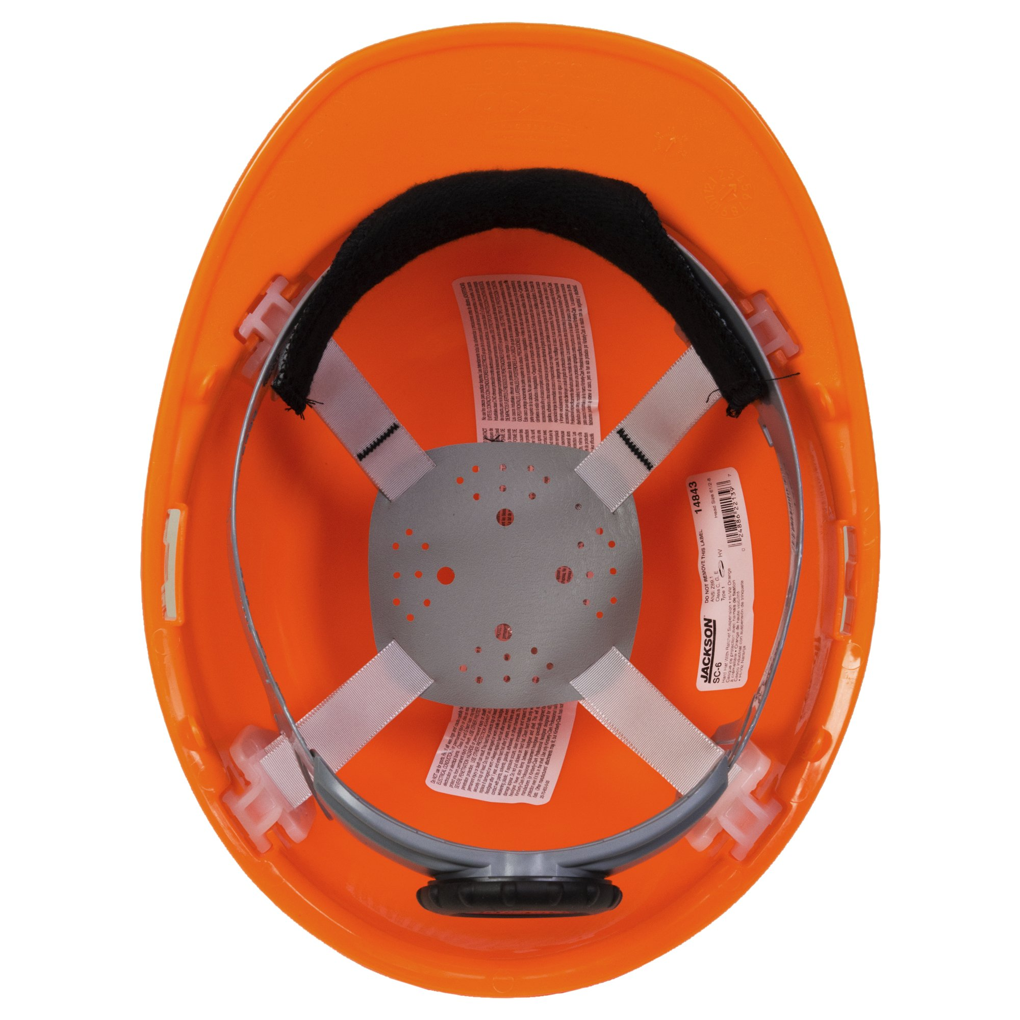 Jackson Safety SC-6 Hard Hat (14839), 4-Point Ratchet Suspension, Smooth Dome, Meets ANSI, Orange, 12 / Case by Jackson Safety (Image #2)
