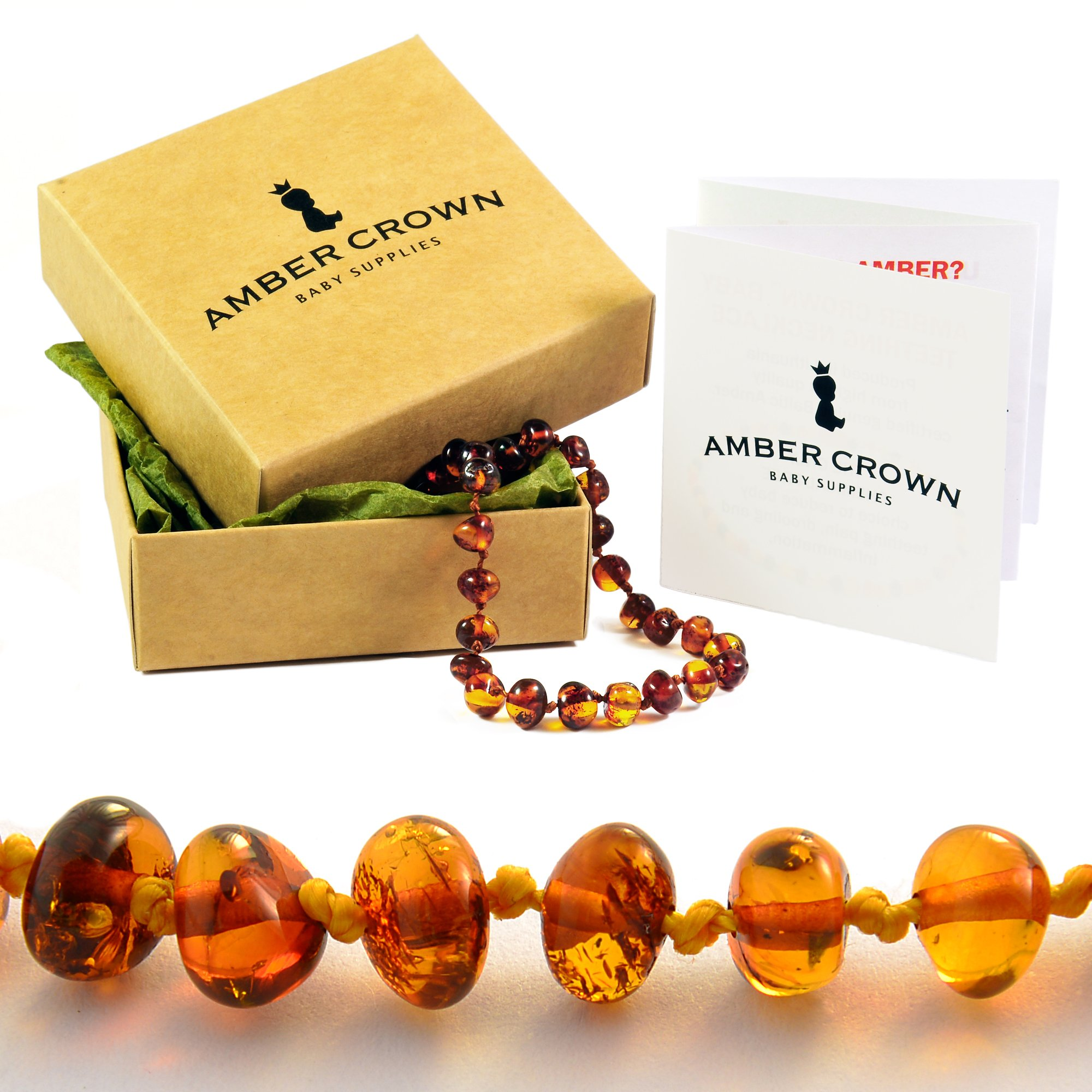 Amber Crown Baltic Amber Teething Bracelet / Anklet for Babies (Honey Color) - Anti Inflammatory, Drooling & Teething Pain Reduce - Certificated Premium Quality Baltic Amber Jewelry