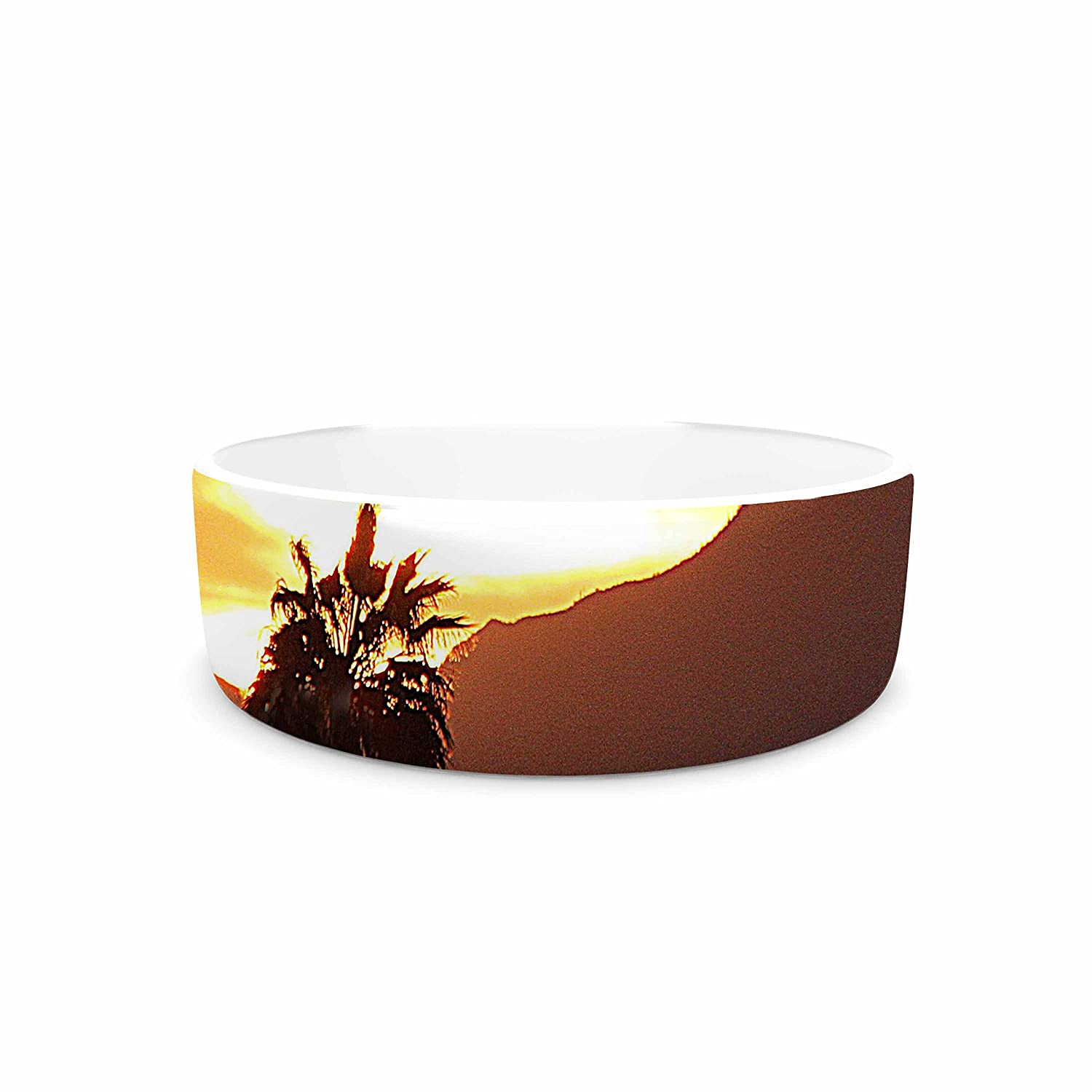 KESS InHouse Sylvia Coomes Tucson Sunset orange Yellow Pet Bowl, 7  Diameter
