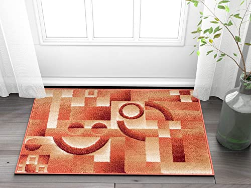Well Woven Primo Shapes Orange Modern Geometric Boxes Lines Hand Carved Modern Area Rug 2 x 3 2 x 3 Easy to Clean Stain Fade Resistant Contemporary Thick Soft Plush