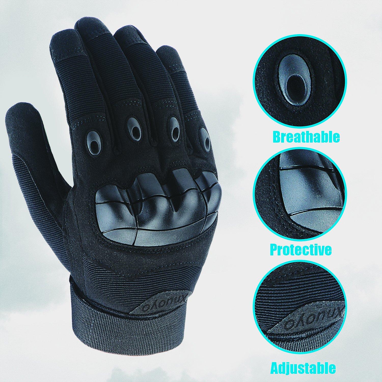 Xnuoyo Caoutchouc Hard Knuckle Pleins Doigts Gants Gants de Protection /Écran Tactile Gants pour Moto V/élo Chasse Escalade Camping marron, Medium