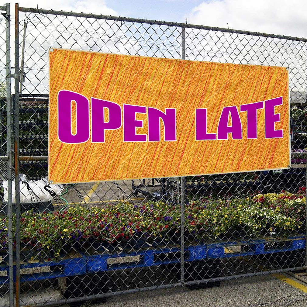 32inx80in Vinyl Banner Sign Open Late Business Open Late Outdoor Marketing Advertising Orange 6 Grommets Set of 2 Multiple Sizes Available