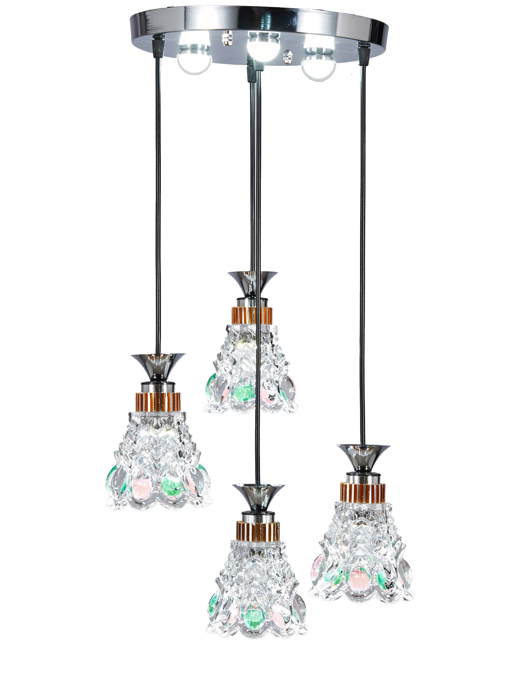 New Galaxy Lighting Modern LED Chandelier Chrome Finish Glass Shade 4-Light Hanging Pendant Ceiling Lamp Fixture, Bulbs Included