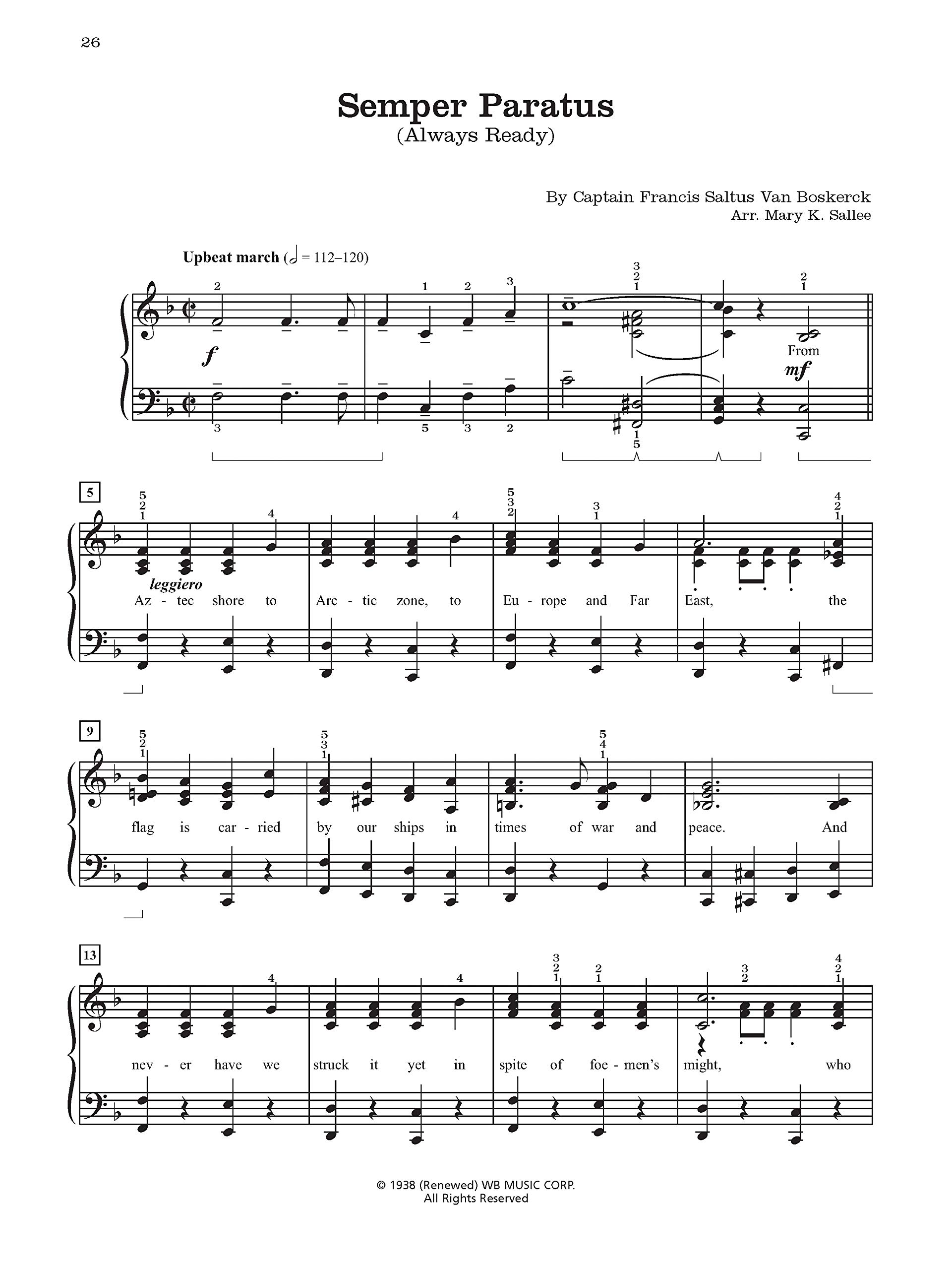 Ea Official Songs of the United States Armed Forces 5 Piano Solos and a Medley