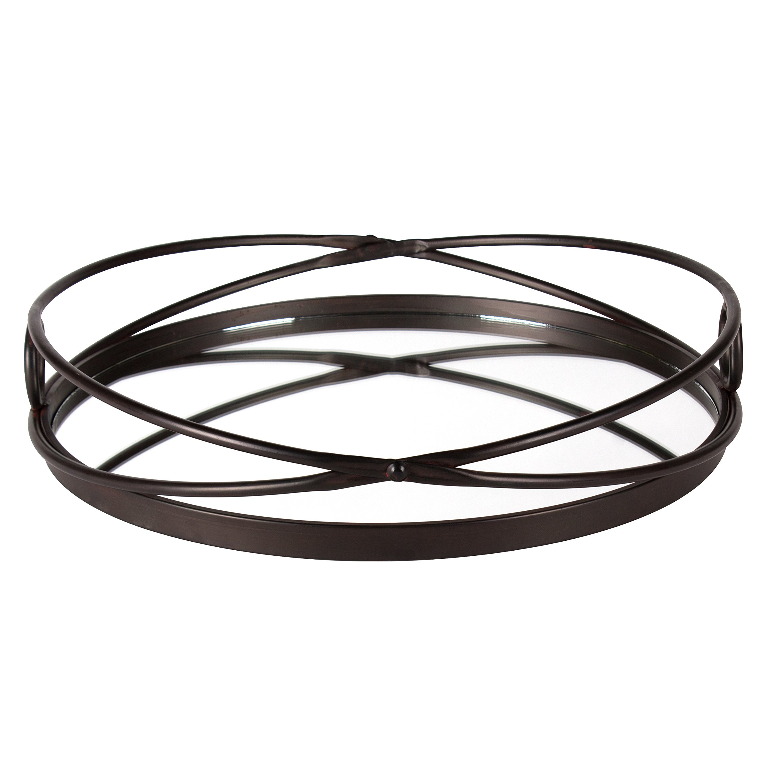 Kate and Laurel Delray Bronze Metal Mirrored Round Decorative Tray by Kate and Laurel