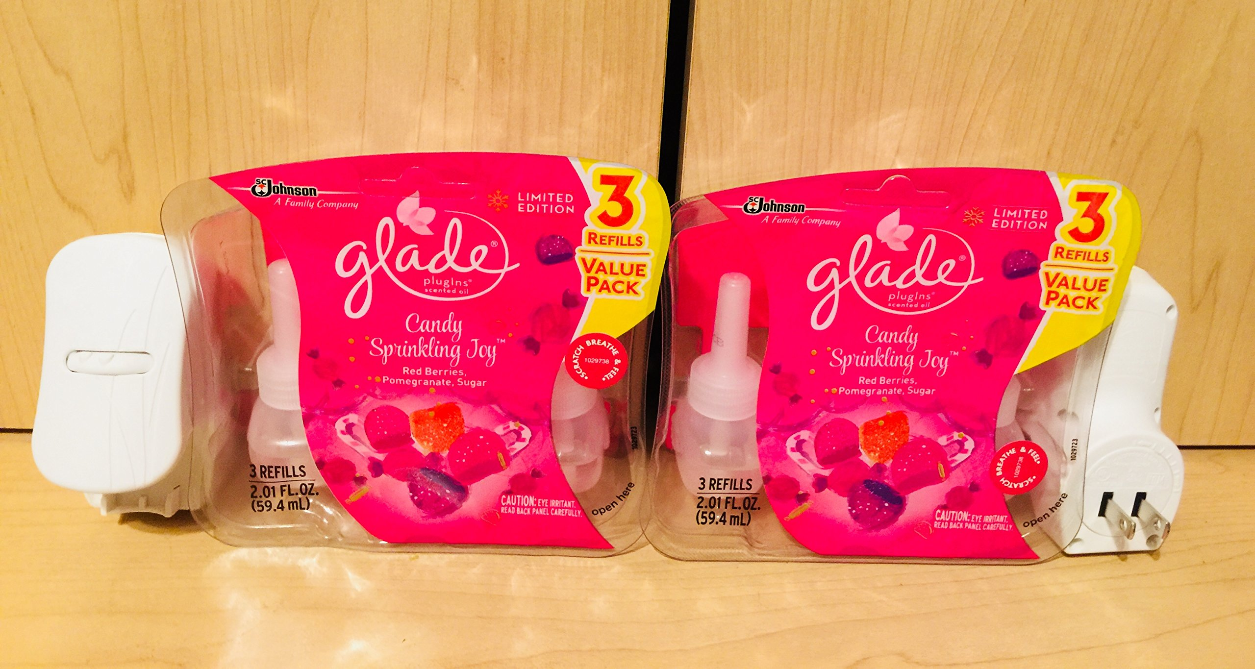 Glade Plugins Scented Oil Limited Edition Candy Sprinkling Joy 2 Warmers 6 Refills
