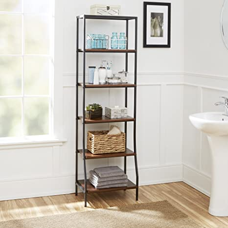 Amazon Com Silverwood Leighton Bathroom Collection 6 Tier Etagere 6 67 5 H Black Home Kitchen