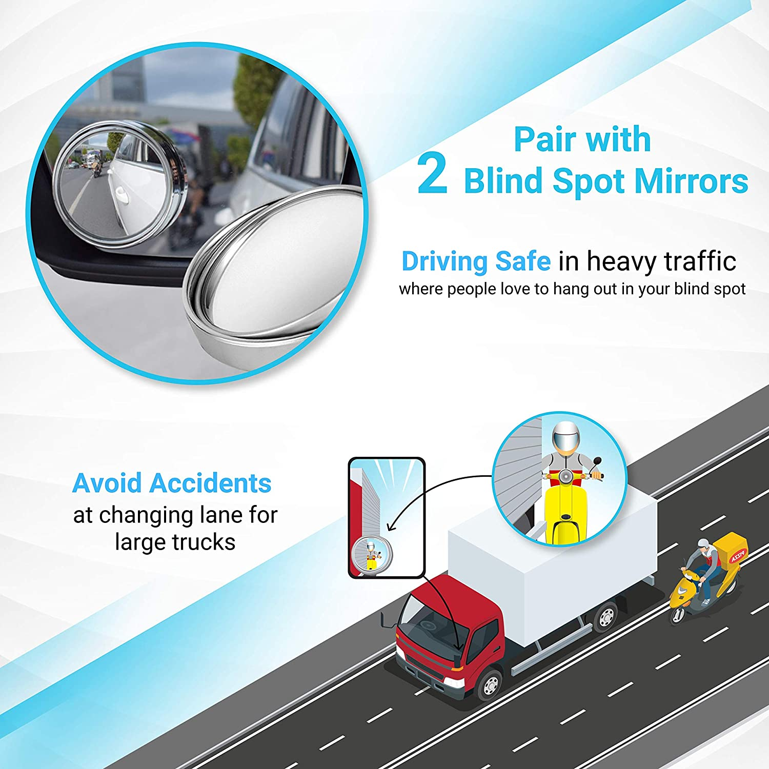 Universal Interior Clip On Rearview Mirror Convex Wide Angle Rear View Mirror Wide Rearview Mirror for Car Truck SUV 30 cm x 8 cm, 11.8 x 3.15