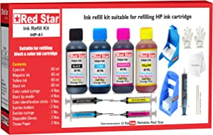 Red Star Multi Color Ink Refill kit with Suction Prime Holder Suitable for HP 63 62 61 60 64 65 67 901 Black & Color Ink Cartridge Combo Pack with 240 ml Ink, Tools & Instructions
