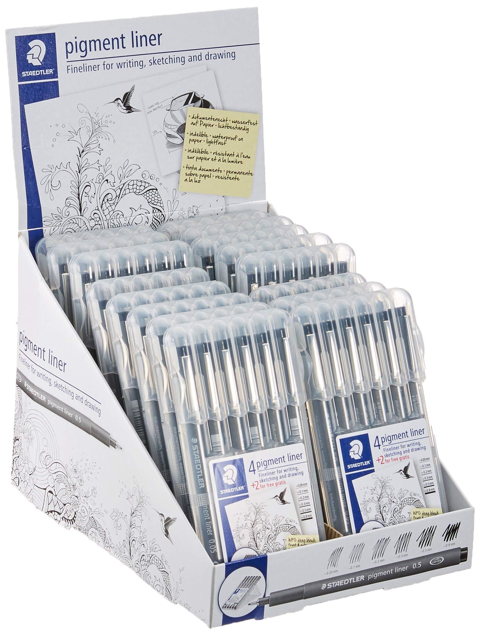 Staedtler 308 SB6P VE Pigment Liner 308 16 x 6 (4+2 Free) Black Pigment Ink Felt Tip Pens for Sketching/Drawing 0.5/0.1/0.2/0.3/0.5/0.8 mm