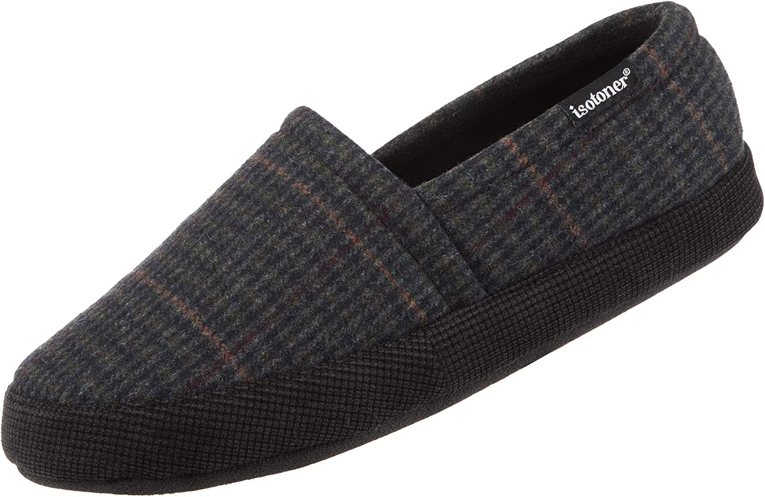 isotoner Men's Plaid Closed Back Slipper with Cooling Memory Foam for Indoor/Outdoor Comfort