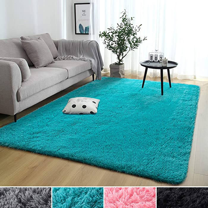 Rostyle Super Soft Fluffy Nursery Rug for Kids Teens Room Comfy Cute Floor Carpets Kids Playing Mat for Bedroom Living Room Home Decorate Area Rugs, 5 ft x 8 ft, Blue