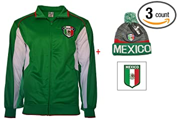 Amazon.com: México chamarra bandera Logo + gorro Pom ...