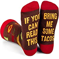 Funny Saying Socks,If You Can Read This Bring Me Some Taco Wine Tea, Crew Socks Gift for Men and Women