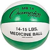 Champion Sports Leather Medicine Ball (Green/White, 14-15-Pound)