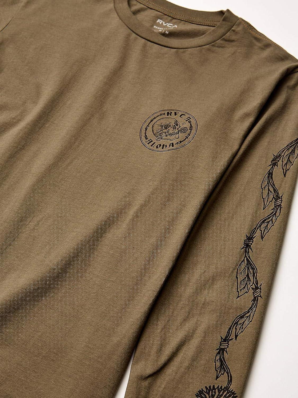 RVCA Mens Jeanjean Skull Wire Aloha Long Sleeve T-Shirt