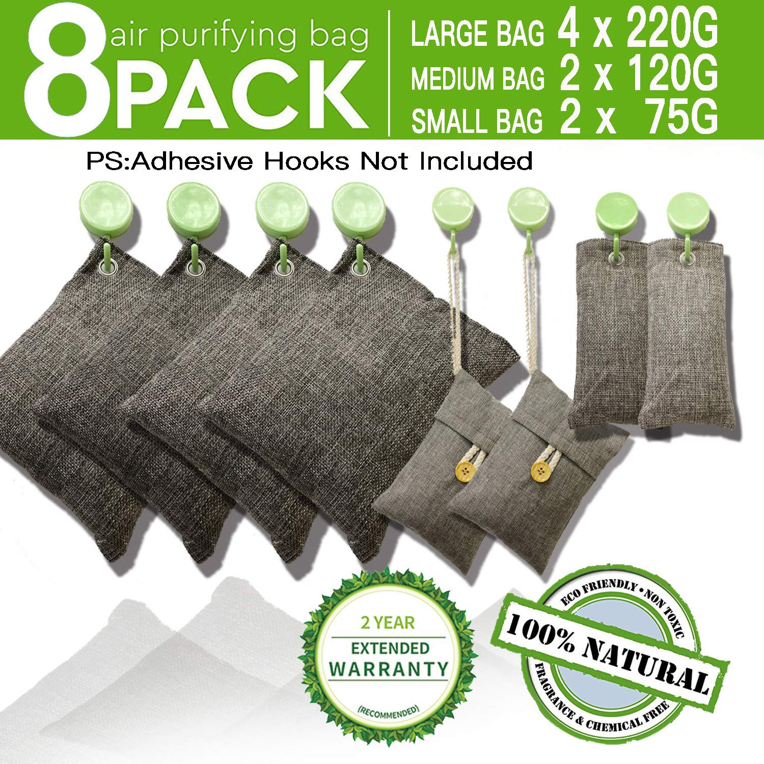 DTXDTech Bamboo Charcoal Air Purifying Bags 8 Pack 4X220g 2X120g 2X75g Car,Closet,Shoes Activated Charcoal Air Filter Natural Eco Friendly Moisture Absorber for Home