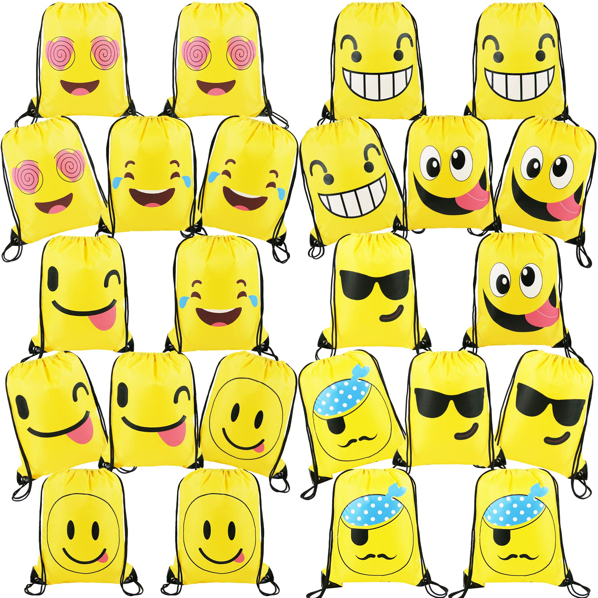 24 Pieces-Cute-Emoji-Party-Supplies-Favors-Bags Drawstring Backpacks for Teens Boys Girls Birthday Ideas Goody Gift Bag
