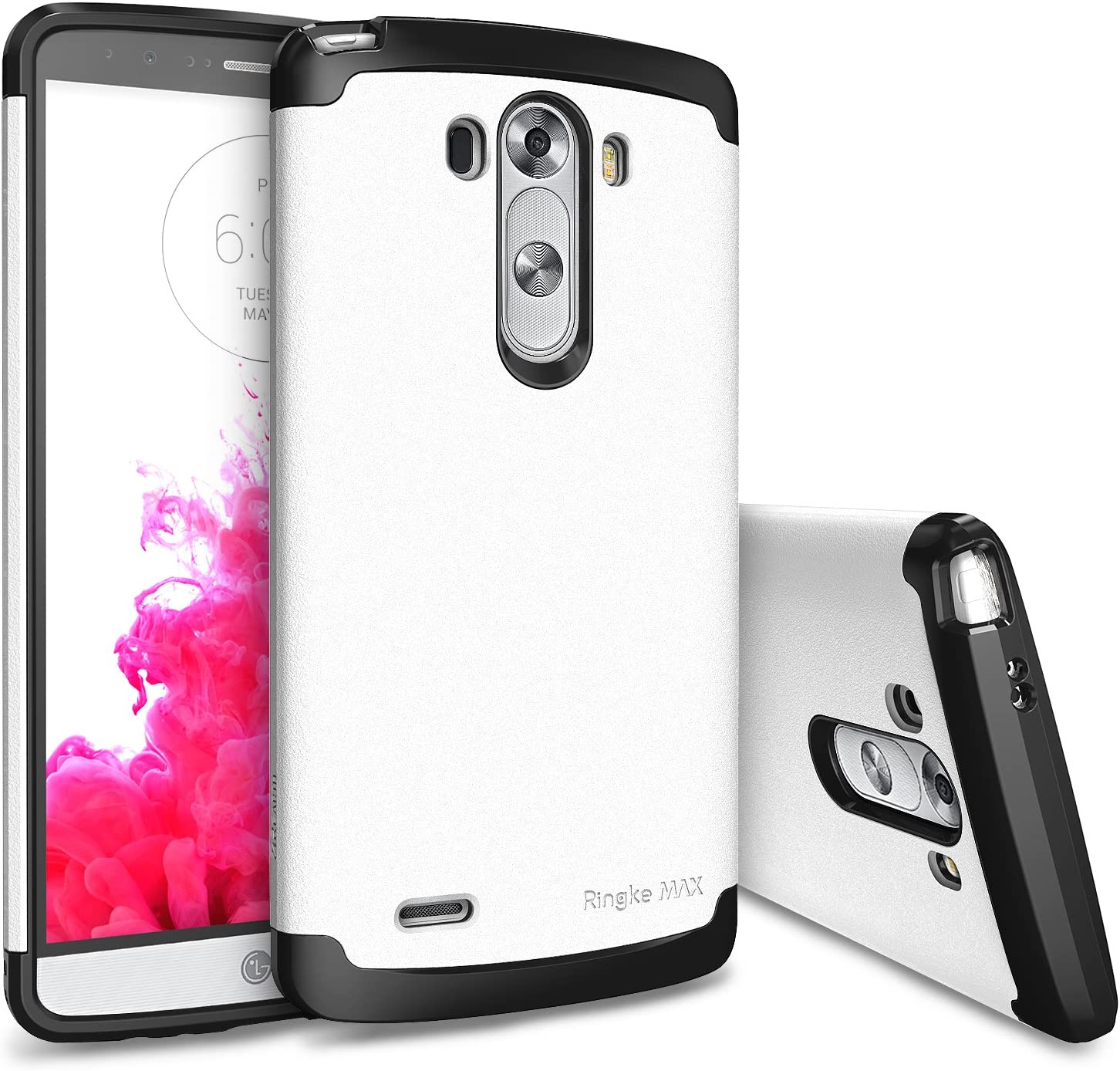 LG G3 Funda - Ringke MAX [WHITE Blanco] Double Layer Heavy Duty Protection Armor Funda [FREE HD Film / Slim Max Protection] for LG G3- Eco Package