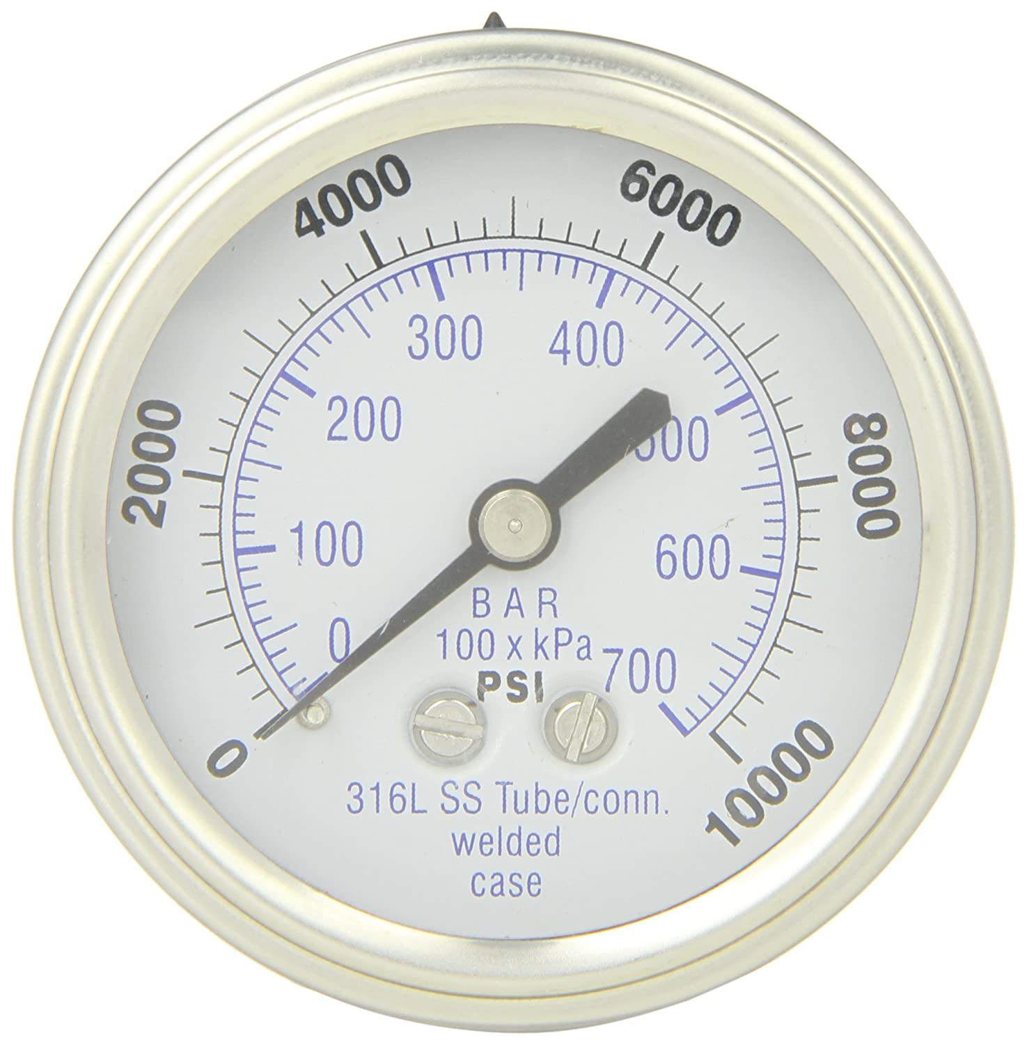 PIC Gauge 302DFW-254U 2.5' Dial, 0/10000 psi Range, 1/4' Male NPT Connection Size, Center Back Mount Dry Pressure Gauge with a Stainless Steel Case and Internals, Stainless Steel Bezel, and Polycarbonate Lens 1/4 Male NPT Connection Size PIC Gauges