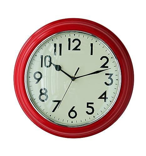 Premier Housewares Orologio da parete per cucina, colore: Rosso ...