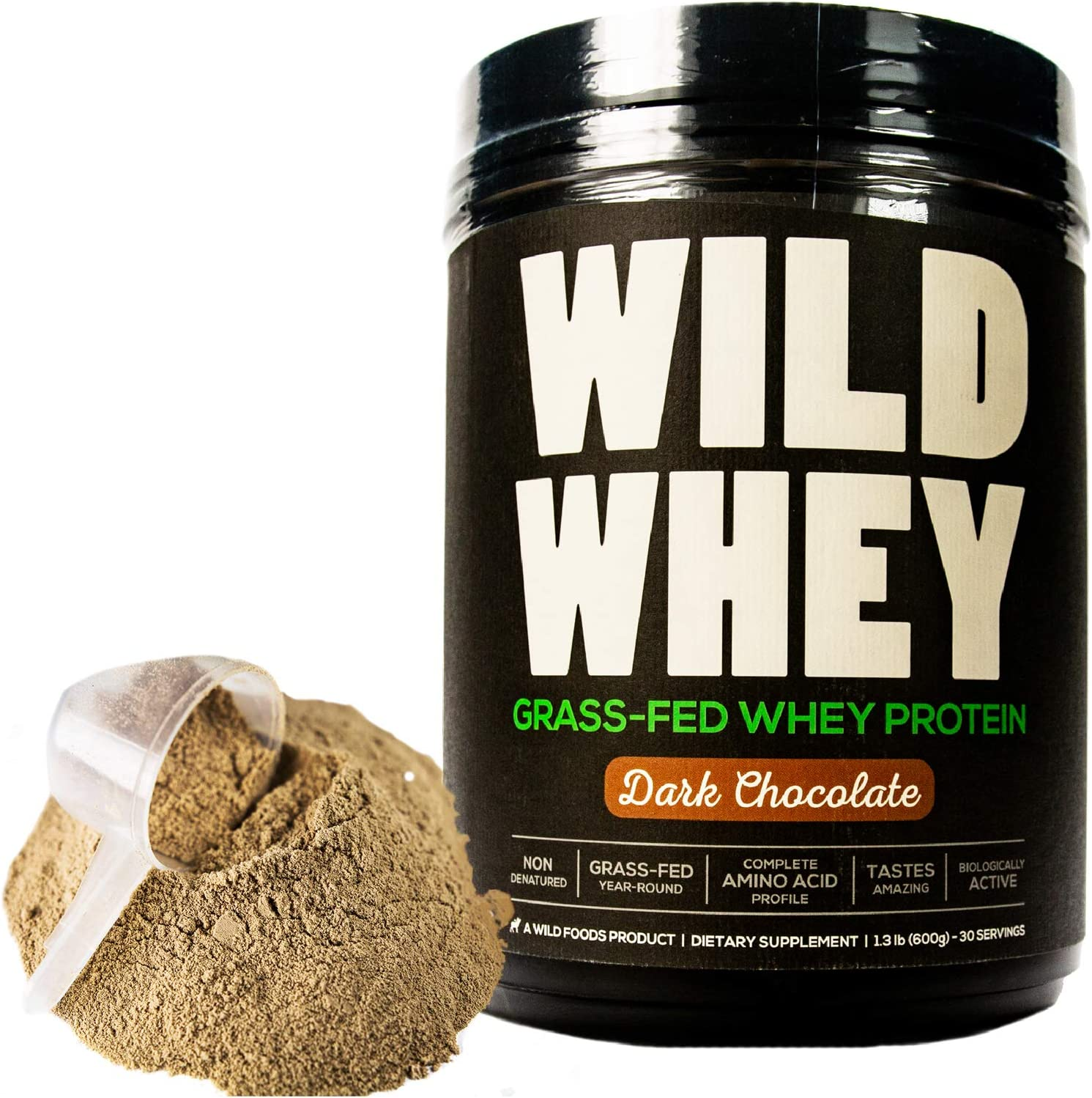 Grass-Fed Whey Protein, Cold Process, Low Carb, Keto Friendly, Non-Denatured, GMO-Free Protein Concentrate Made Directly from Grass-Fed Milk 600g – 1.32 Pound, Dark Chocolate