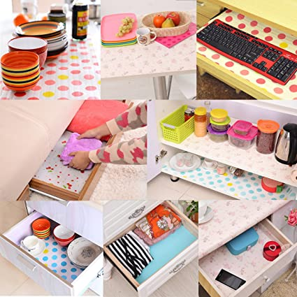 Trexee Polka Dots Contact Paper Color Dot Drawer Liner Mat Kitchen Placemat Shelf Desk Cabinet Pad Shelf Paper Drawer (Pink Dot)