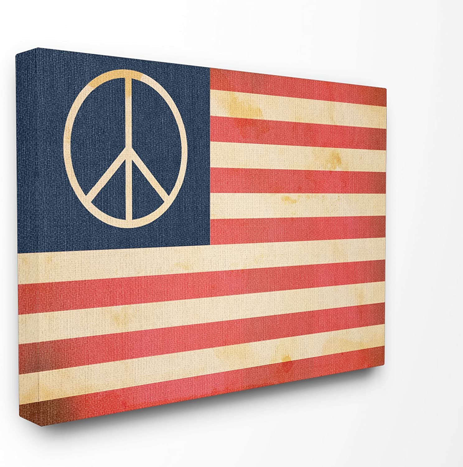 The Stupell Home Décor Collection Peace American Flag Oversized Stretched Canvas Wall Art, 24 x 30