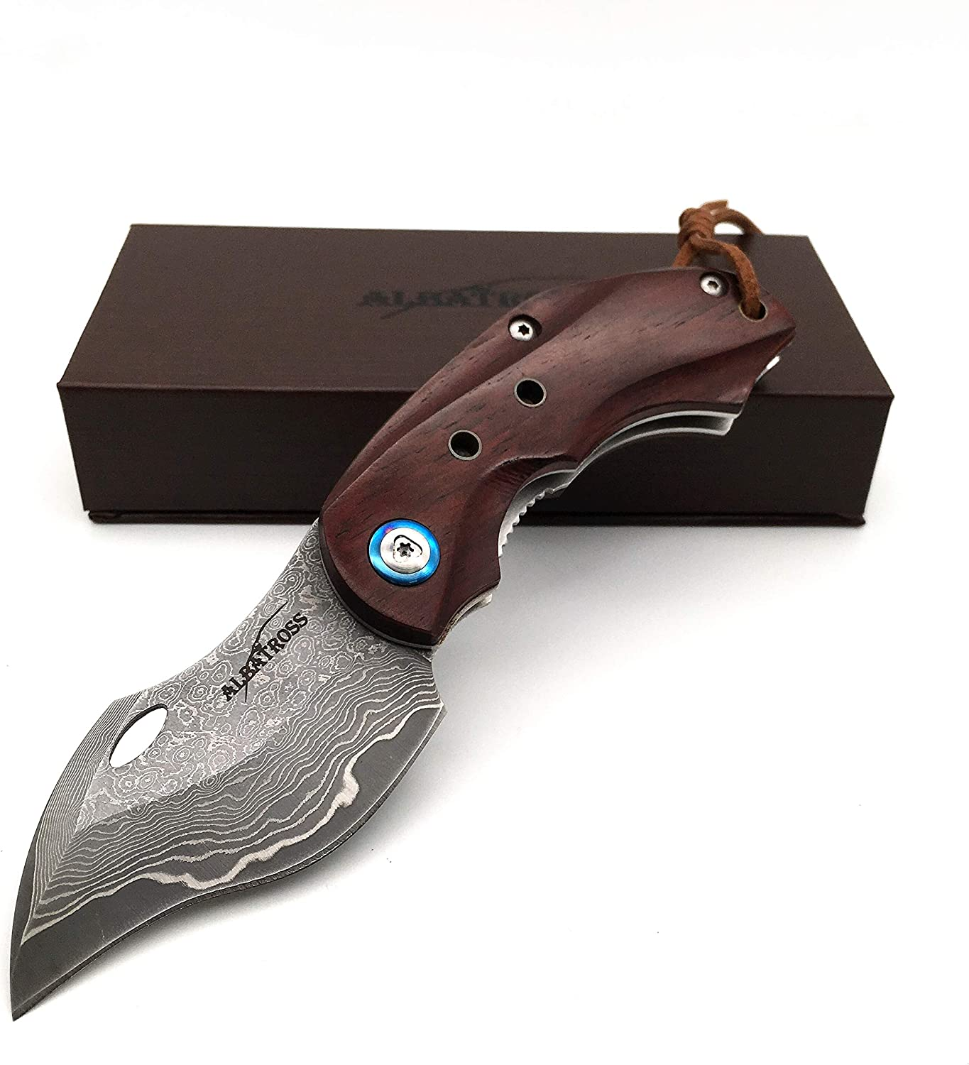 ALBATROSS HGDK003 Sharp VG10 Damascus Folding Pocket Knife with Liner Lock, Yellow Sandalwood Handle, Gifts Collections