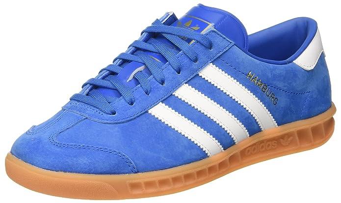 adidas Hamburg Herren/Damen Unisex Schuhe blau (Bluebird) mit weißen Streifen