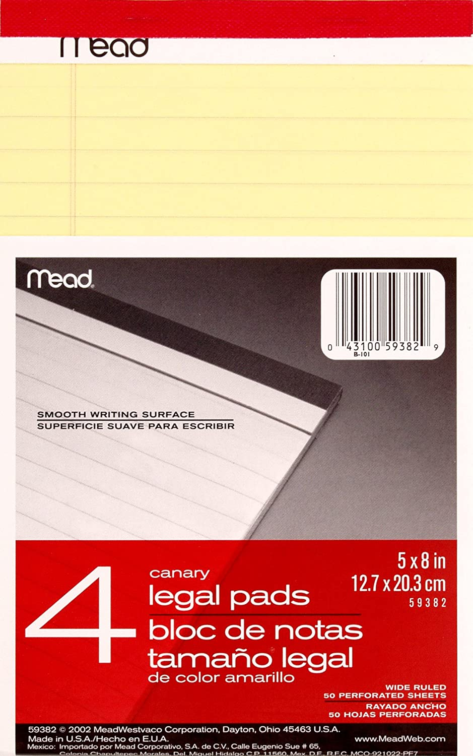 Mead Canary Junior Legal Pads, 5 x 8 Inch, 4 Pack 50 Sheets (59382)